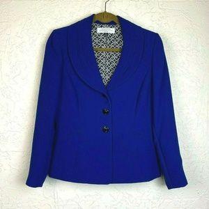 Tahari Arthur S Levine Blazer Petite 6P Royal Blue